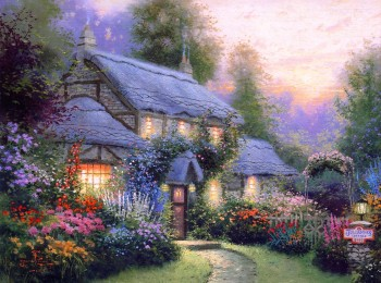 thomas-kinkade-kincaid-summer-cottage-house-night-colors-comfort-warmth-peace-tranquility